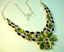 Sterling Silver Peridot with Black Onyx Necklace