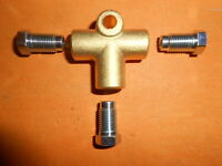 """Brass Brake Pipe Fitting Female 3 Way T-piece 3/8"""" UNF 24Tpi for 3/16"""" Pipe"""