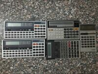 Lot of 5 vintage Casio calculators - ( PB-100F - Fx-5500 - Fx-350c - Lc-1022 ) .