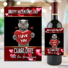 Personalised Valentines Day Wine Champagne Bottle Sticker Label N189 for him her