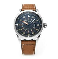 Citizen AW1360-12H Eco-Drive Aviator Pilots Black Gents Sports Leather Watch