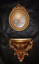 Homco Blue Bird Oval Picture With Gold Frame Ornate Gold Wall Pocket #6050 Resin