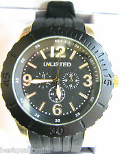 NEW-UNLISTED KENNETH COLE BLACK RUBBER BAND+GOLD MULTI-FUNCTION WATCH UL1193+BOX