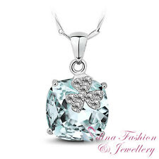 925 Sterling Silver Swarovski Crystal Flowery Wedding Dress Aquamarine Necklace