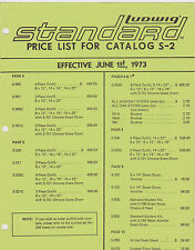 #MISC-0089 - JUNE 1 1973  LUDWIG STANDARD DRUM CATALOG PRICE LIST