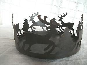 Metal cut out large candle holder, deer & tree design