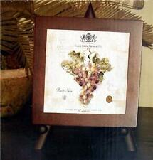 NEW WINERY GRAPES TRIVET SET WITH WOOD STAND Easel Wine