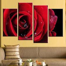 Canvas Print Home Decor Red Rose Wall Art Painting Flower Art Home Decor 4Pcs
