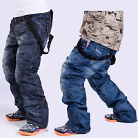 Men Winter Waterproof Warm Padded Denim Ski Snowboard Pants Trousers Salopettes