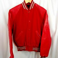 HOLLOWAY Original College Jacket USA Letterman Wool Vinyl Red Gray Mens Size M