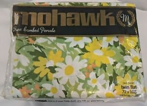Vintage 70s Mohawk Fine Combed Percale Twin Flat Sheet Floral 72x108 Unhemmed
