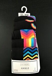 BNWT Next Black Rainbow Ankle Socks - One Size