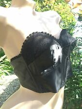 1940s Vintage Triumph Black Satin & Lace Longline Bullet Bra~Classic Pin-up Girl