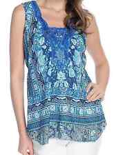 ONE WORLD WOMEN'S PLUS SIZE BLUE BLACK EMBELLISHED W/ LACE TRENDY TOP Sz 1X