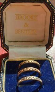 9ct Yellow Rose & White Gold Diamonds Designer Trinity Rings Size S US 9.25 Nice