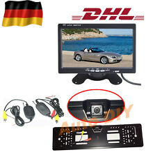 "Funk Auto Rückfahrkamera 170° 4 IR LED Nachtsicht+Nummernschild+7"" KFZ Monitor"