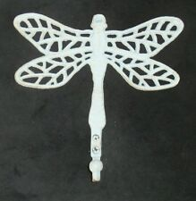 "LARGE Cast Iron Dragonfly Hook Rustic White Finish Great For Garden 9"" x 9"""