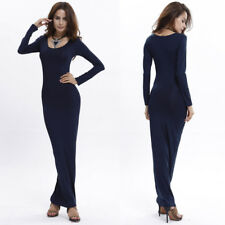 Womens Long Sleeve Crew Neck Bodycon Lady Casual Beach Evening Party Maxi Dress UK 8-10 Red Wine