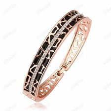 Black Leopard Austrian Crystal Cuff Bangle Women 18k Rose Gold Plated Bracelet