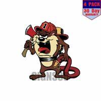 Firefighter Tasmanian Devil 1 4 pack 4x4 Inch Sticker Decal