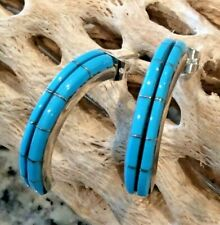 Native American Indian Turquoise Half Hoop Earrings Sleeping Beauty Signed