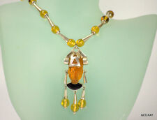 Carved Amber Onyx Aztec Warrior Face Mask Mexico 925 Sterling Silver Necklace