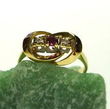 Toller Ring 54 (17,2 mm Ø) 333/8k Gold Brillant Diamant - Rubin