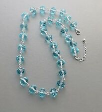 Aqua blue chunky glass crystal bead necklace .. faceted statement prom jewelry