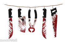 1.8 M Guirnalda Decoración de Halloween Sangriento Armas Sangre Sierra Cuchillo Colgante Prop