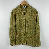Colorado Womens Button Up Shirt Size 14 Green Floral Long Sleeve Front Pockets