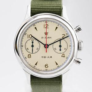 Seagull 1963 Watch Chronograph Movement Nylon Leather Strap Mechanical Sapphire