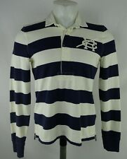 Ralph Lauren Men's White & Navy Striped Long Sleeve Rugby Polo MSRP: $89.50