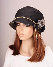 NM265 Black Beauty Flower Cotton Hat Round Brim Cap Cloche Summer Autumn Cute