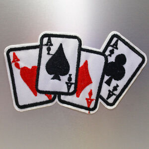 Aces Patch — Iron On Badge Embroidered Motif — Poker Cards Punk Biker