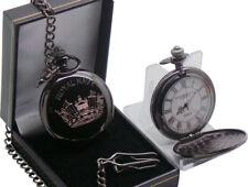 Royal Navy Pocket Watch BLACK Engraved Custom Personalised Gift