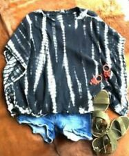 Urban Outfitters Tie Dye Poncho Kimono Sleeve Soft Cozy Cotton Black XS/S  $75