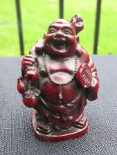 Vintage Laughing Buddha Miniature Carved Red Resin Figurine Standing Safe Travel