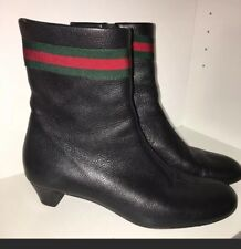 Auth GUCCI Black Leather Ankle Signature Boots 39