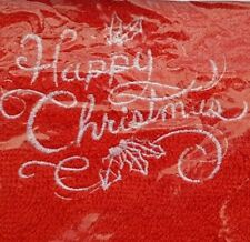 Christmas Embroidered 100% Egyptian Cotton Face Cloth/Flannel -  Happy Christmas