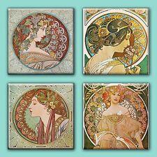 "Art Nouveau Alphonse Mucha Illustration Tile Ceramic Coasters (Set of 4) 4.25"""