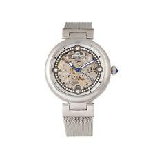 Empress Adelaide Automatic Skeleton Dial Silver Mesh Women's Watch EM2501