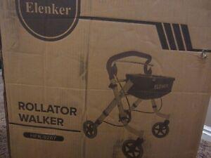 ELENKER Steerable Foldable Compact Rollator Walker Rolling Walker Medical USA
