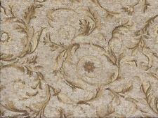 Drapery Upholstery Fabric Chenille Jacquard w/ Scrolling Leaves - Natural