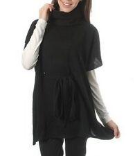 BASILE black turtleneck jumper sweater pull maglia maglione donna misto lana NWT