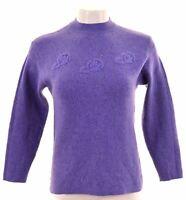 EMILIO PUCCI Womens Crew Neck Jumper Sweater IT 44 Medium Purple Acrylic Vintage