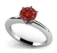 1 CARAT BRILLIANT CUT Red DIAMOND RING & 6 Prong Solitaire Valentineday Spl.Sale