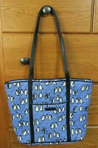 VERA BRADLEY Small Trimmed Vera Tote Bag - Playful Penguins Blue