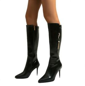 Womens Stilettos High Heels Knee High Boots Patent Leather Pointed Toe Zip Shoes