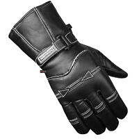 Premium Men Sheep Leather Gauntlet Winter Motorcycle Biker Gloves Black