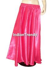 Silver Satin Skirt Belly Dance Costume Gypsy Maxi Dress 4.5 Yard Half Circle